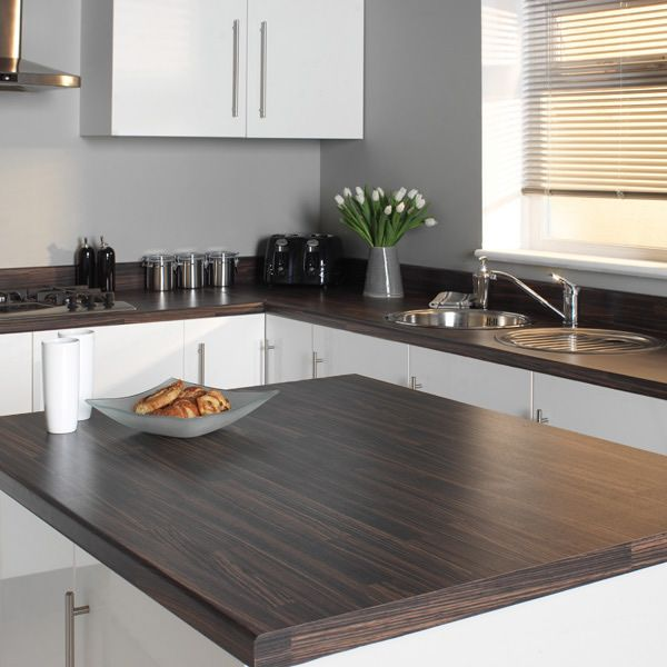 White gloss kitchen with mocha bamboo worktop
