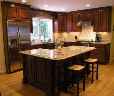 l shaped kitchen designs with island | Shaped Island Design Ideas, Pictures, Remodel, and Decor