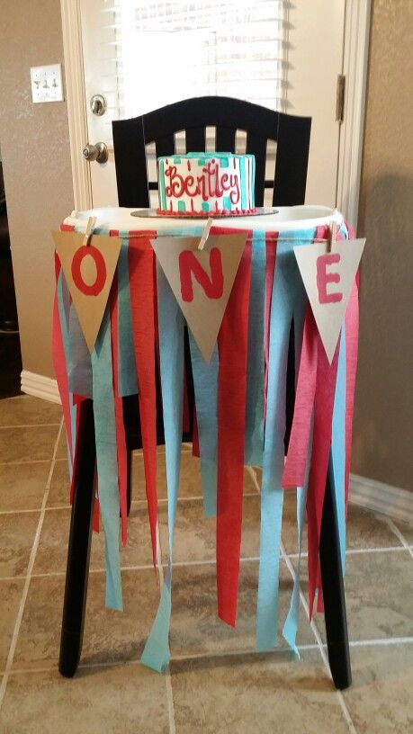 Want a cheap and easy way to decorate that high chair that's going to get smash cake all over it! Well... then make your own out of diy banner kit and cheap streamers!!!not too bad for an after midnight job and needing sleep!!! But you get the idea!!
