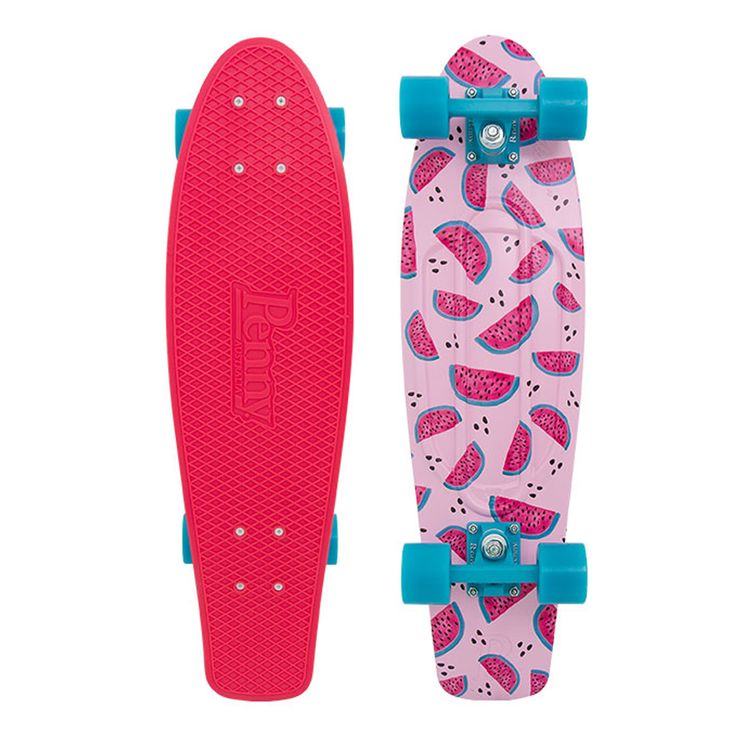 """Penny Nickel 27"""" Melon Mania - Complete. Trucks: 4"""" Penny, Wheels: 59mm 83a, Bearings: Abec 7]."""