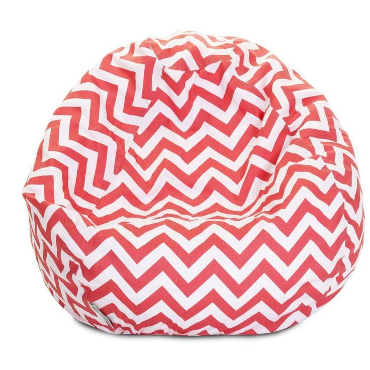 Majestic Home Goods Chevron Small Classic Bean Bag Baby Pink Cotton