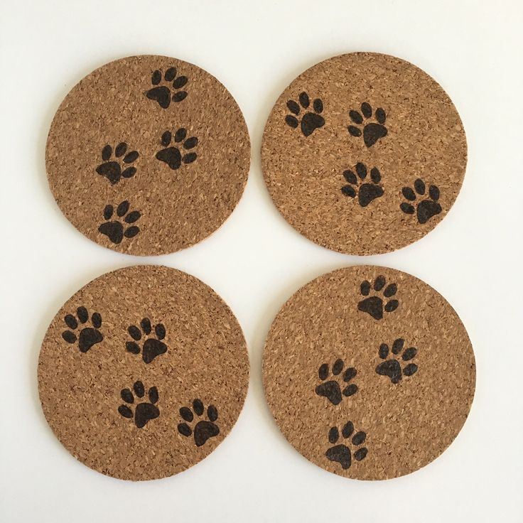 Cat Print Cork Coasters by HuckleberryHaven on Etsy https://www.etsy.com/ca/listing/292091615/cat-print-cork-coasters