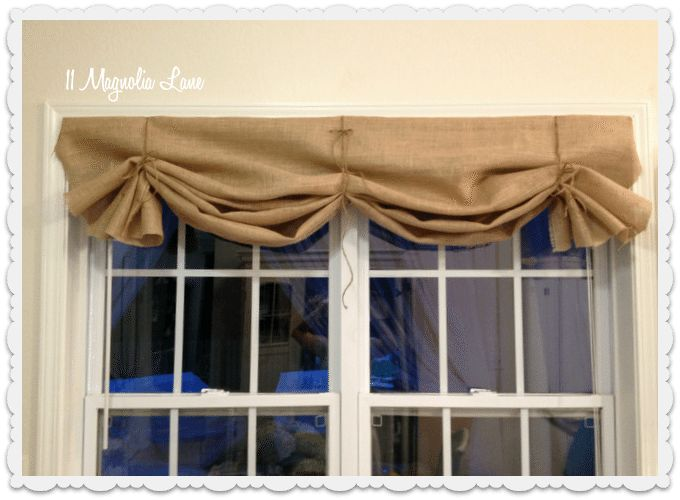 burlap valance three ties