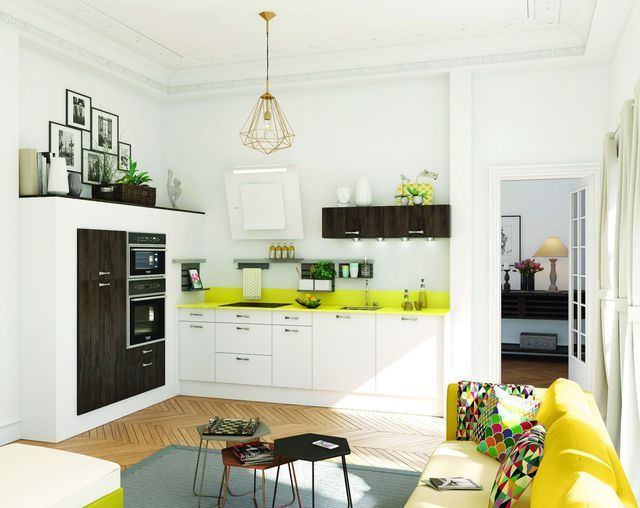 Une petite cuisine au design urbain et teintée de jaune vif... On adore !