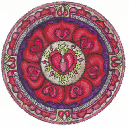 The egg of love / El óvulo del amor The seed of love emerges with its purity, passion and grandeur in this mandala painted on the concept full of magical encounter between two people. A drop of sperm and egg to