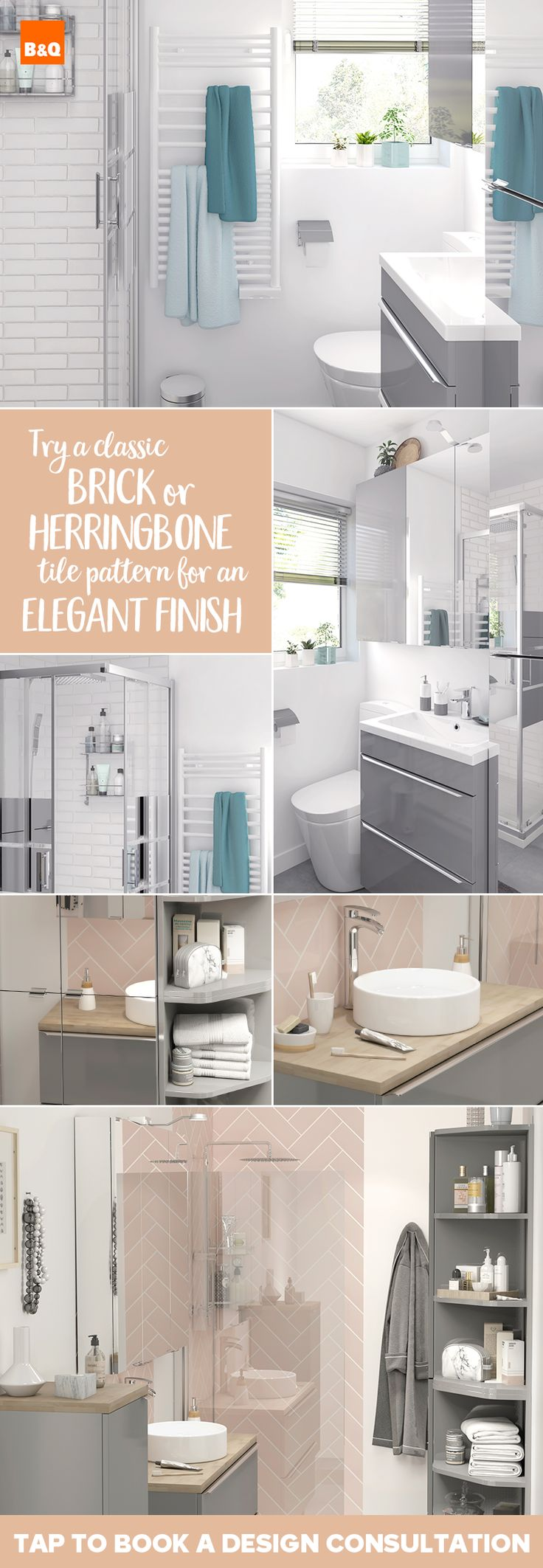 What tile pattern will you choose for your bathroom renovation? Will you  keep it classic with a brick pattern, or try fashionable herringbone?