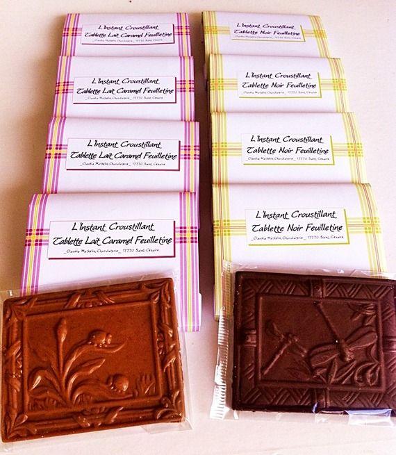 Tablettes Chocolat Lait Caramel Feuilletine et Noir Feuilletine - By Claudia Chocolats - A Little Epicerie