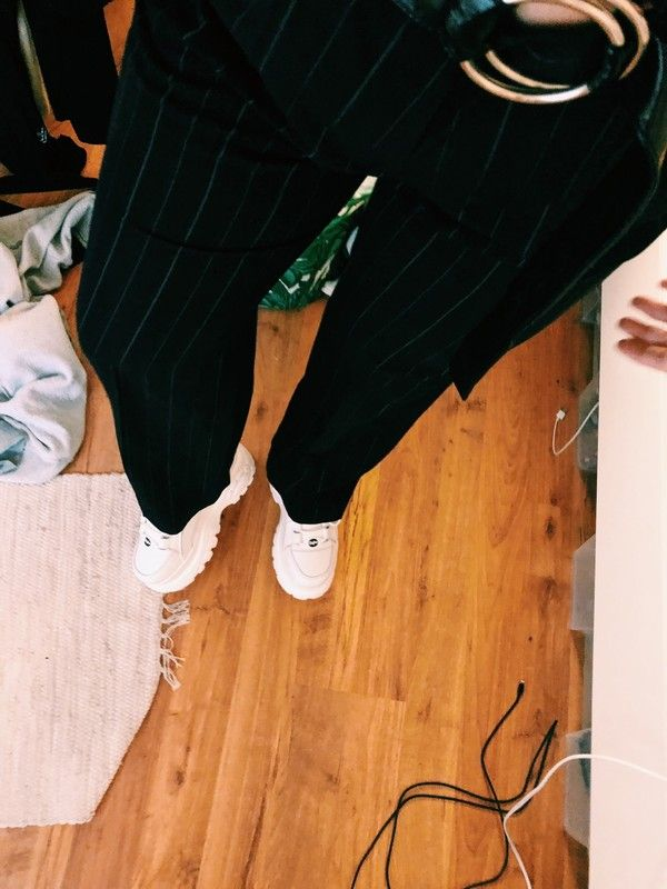 Vintage Hose mit streifen high waist indie schwarz blau grau