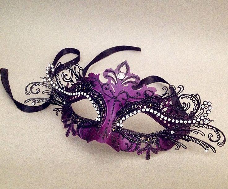 Purple masquerade mask Luxury filigree laser cut metal Black Purple Mask costume prom party