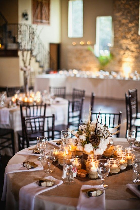 Rustic Wedding Decor By The Different Sized Jars With Candleswhite Table Cloth Square Of Burlap