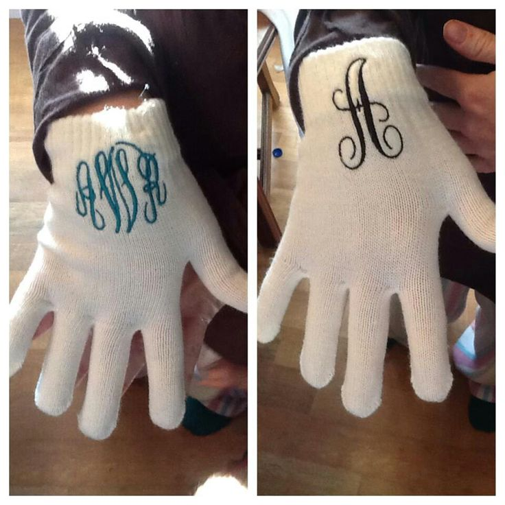 Monogrammed gloves are easy and classy. What a great gift! Most Janome embroidery machines have some built-in Monograms and you can always get more with software. ~Anna from Janome
