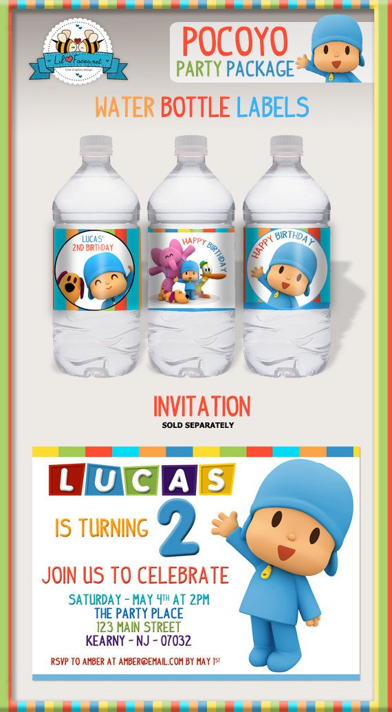 Pocoyo cumpleaños fiesta paquete imprimible por LilFacesPrintables