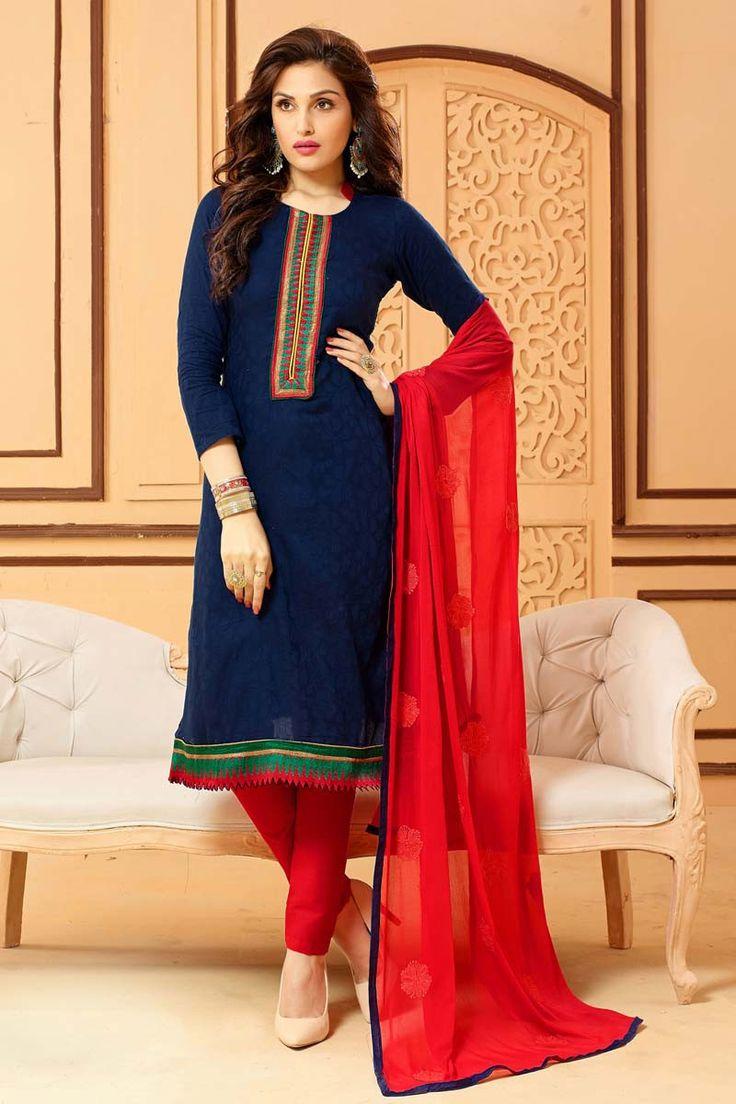 Blue Chanderi Churidar Salwar Kameez Clothes for women