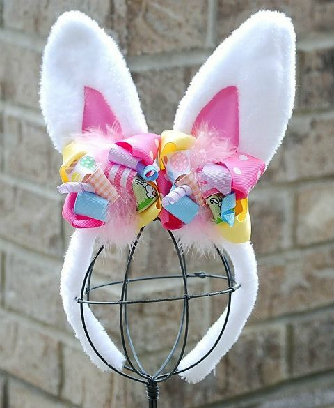 boutique EASTER BUNNY EARS funky fun headband by andjane