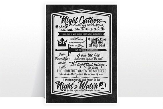Game of Thrones  The Night's Watch Oath Version 2 by TeacupPiranha, £5.00