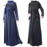 Stijlvolle Moslima. Abaya, lange maxi jurk met lange mouwen, hoofddoek - MARDIYAH