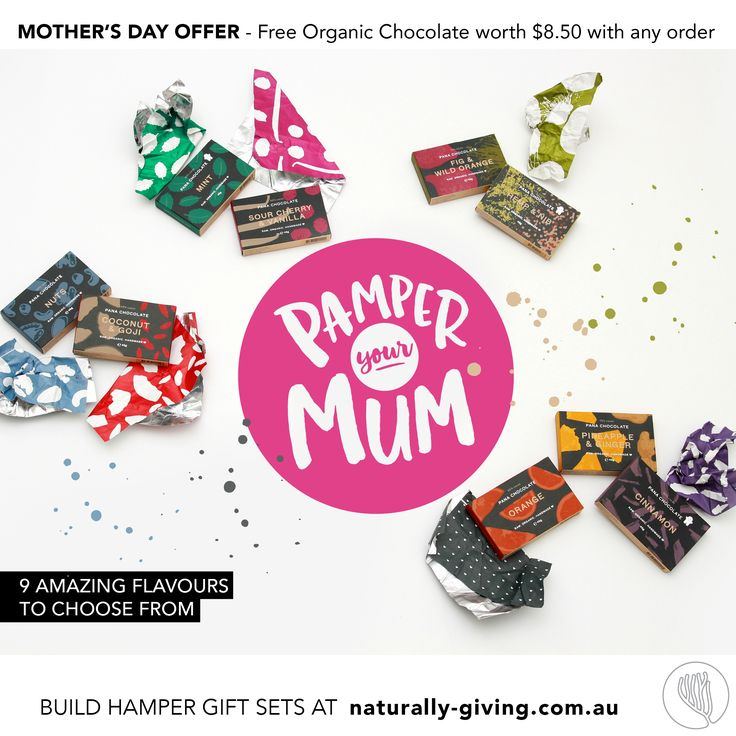 Mother's Day Special Offer - NATURALLY-GIVING.com.au  Pamper your mum this Mother's day with organic bath & body gift sets that you can create yourself and make truly personal. A free organic chocolate of your choice will be included with your order.