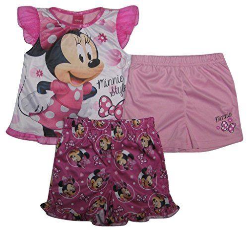 DISNEY Minnie Mouse Toddler Girls 3-Piece Pajama Set, 1 top, 2 short, Size 3T  -  Style #MI085TSKKL - sleepwear pajamas pjs sleep night pink white black ruffle short sleeve top shirt elastic waist band shorts disney junior jr cartoon tv show character. AVAILABLE WHILE SUPPLIES LAST!  https://www.amazon.com/dp/B074QW6L1N/ref=cm_sw_r_pi_dp_x_jC1Nzb158PRCX