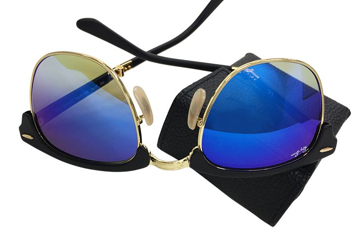 Foldable Ray Ban with Blue Lens and Square Black Case $259.00 Crystal Eye Care 703-413-9001