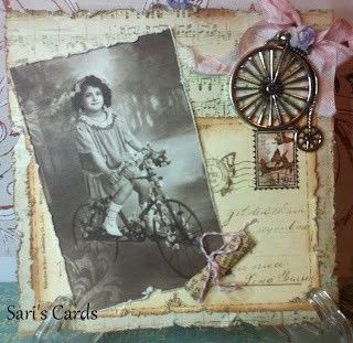 Sari's Cards ~ Vintage bicycle themed heritage page with an old postcard background.