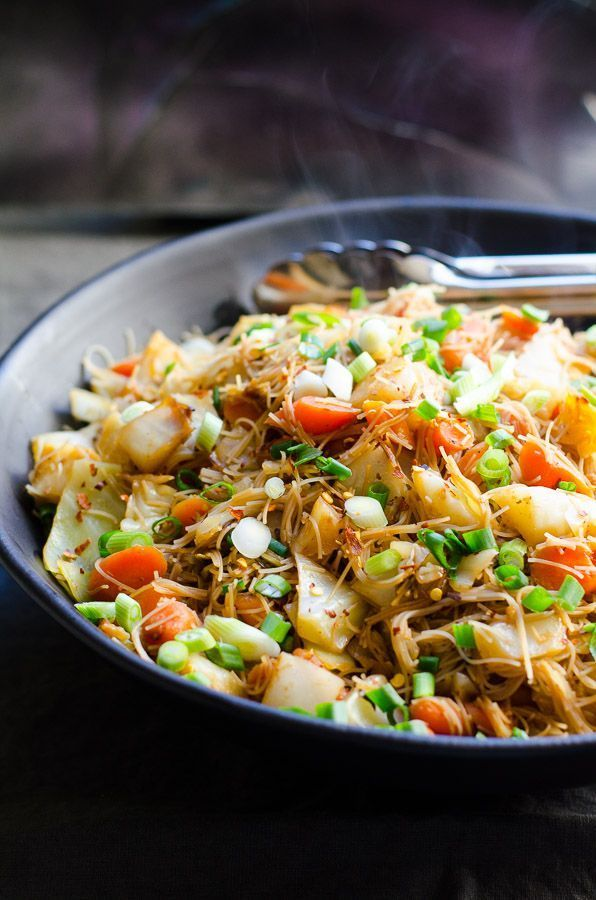 Cabbage and Carrots Stir Fry is an easy rice noodle recipe ready for dinner in 20 minutes.