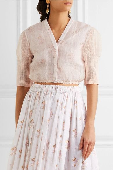 Emilia Wickstead - Leslie Cropped Floral-print Cotton And Linen-blend Gauze Top - Baby pink - UK10