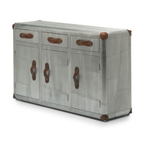 Memphis Belle Brushed Aluminium 3 Drawer Sideboard