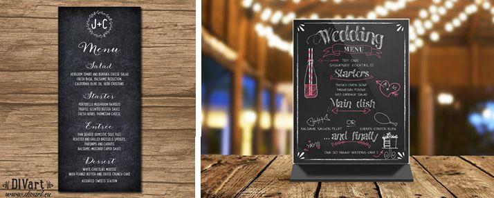 Weselne menu inspirowane czarną tablicą kredową