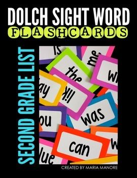 """Dolch Second Grade Sight Word Flashcard Labels - print on Avery 5163 labels and stick onto 3""""x5"""" bright card stock."""