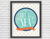Imprimir náutico acuarela Art Print Home Decor guardería náutica - fuera a imprimir acuarela mar - 8 x 10