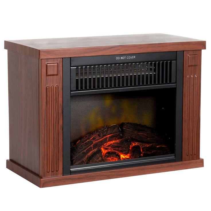 "13"" Wood Finish Portable Mini Electric Fireplace Heater"