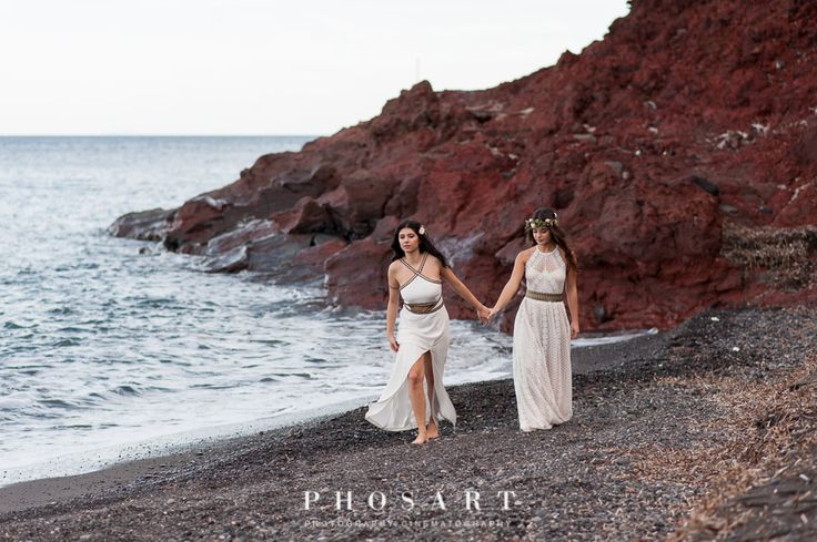 #santorini #greece #lesbianwedding #ceremony #samesex #lgbt #wedding #equallywed #gaydestination #gayweddingplanner #prideweddings #gaylove #twobrides #justmarried #weddingphotoshoot #beach #outdoor  #weddingphotography #phosartphotography