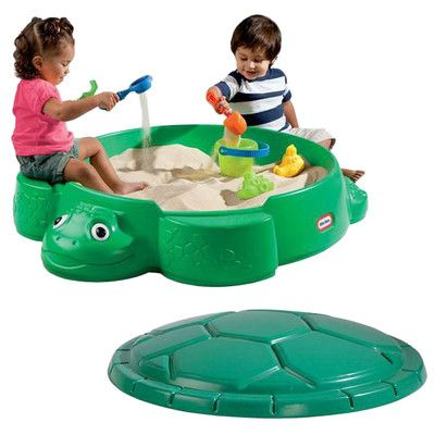 Features: -Holds up to 150 lbs of sand (not included). -Construction Material: 100% Plastic. Product Type: -Sandbox. Finish: -Green. Material: -Plastic. Country of Manufacture: -United States.