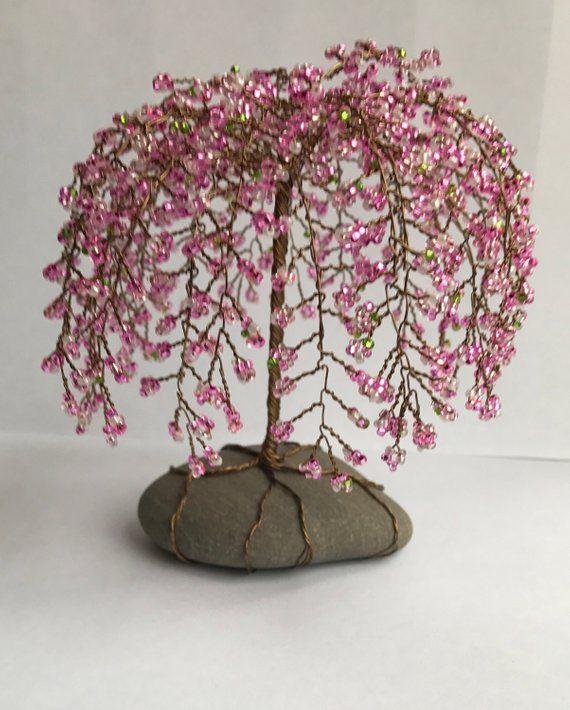 Weinende Kirschbaum Skulptur Perlen Dekoration Einzigartiges Geschenk Glasperlen Rosa Nach Maß   – Tree sculpture