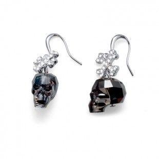 Earring Skull rhod. silver night #OliverWeber