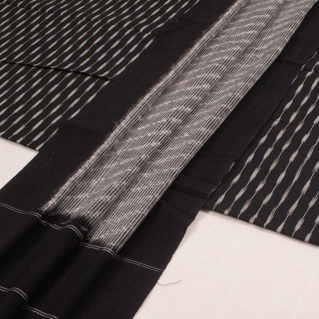 Handwoven Black Mangalgiri Ikat Cotton 3 Piece Salwar Suit Material With Stripes Design 10016184 - AVISHYA.COM