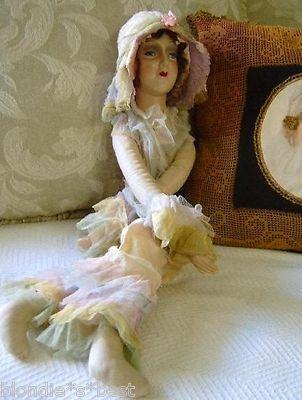 Antique Cloth Composition Boudoir Bed Doll Art Deco Flapper Lady Blue Glass Eyes