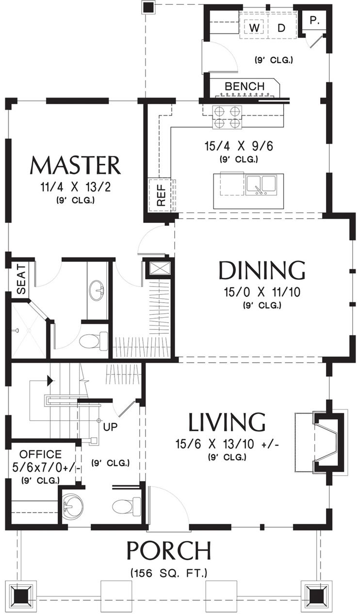Bungalow Style House Plan - 3 Beds 2.5 Baths 1777 Sq/Ft Plan #48-646 Floor Plan - Main Floor Plan - Houseplans.com