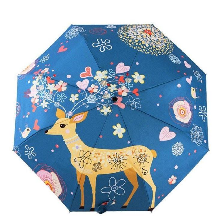 Artsy Oil Painting Waterproof Cute Elk Folding Umbrella