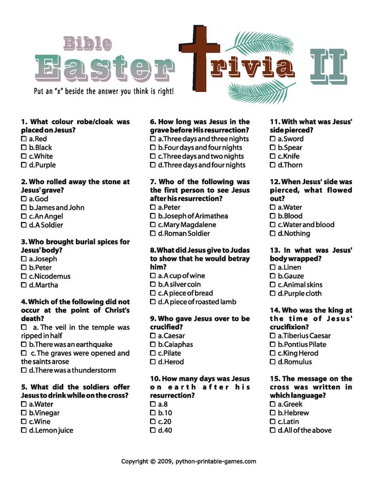 printable easter quizzes for adults