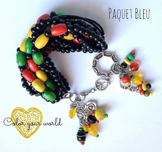 Bohemian style bracelet. Reggae and Rasta colors. by PaquetBleu