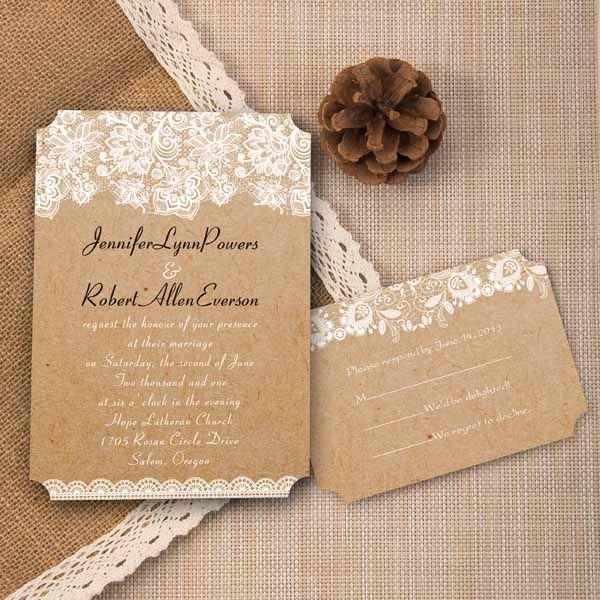 vintage floral lace burlap ticket shape wedding invitations EWIr270 as low as $1.04