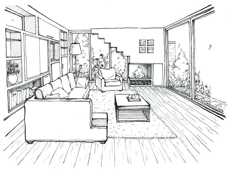 Interior Design Bedroom Drawing How To Draw Living Room