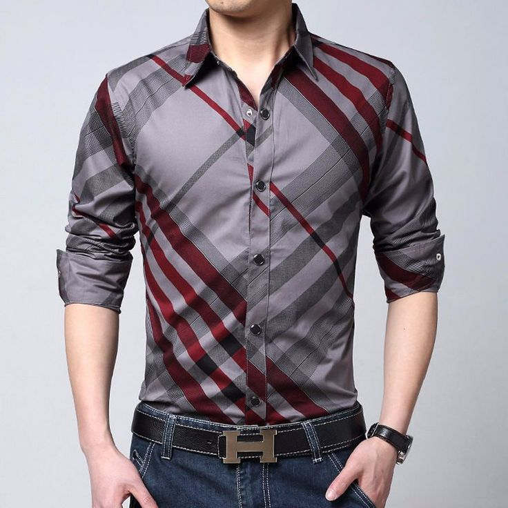 2016 Spring Brand Striped Shirts Men Clothes Long Sleeve Blue
