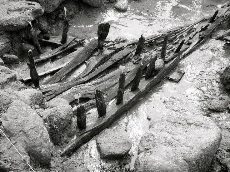 Pêcherie littorale de Servel-Lannion (Côtes-d'Armor), avec pièces de bois datées par dendrochronologie du 7e s. (615), formant un dispositif de barrage avec des tressages.