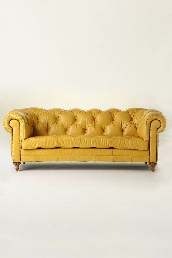 yellow leather couch . Yellow is SO fun and happy! ..