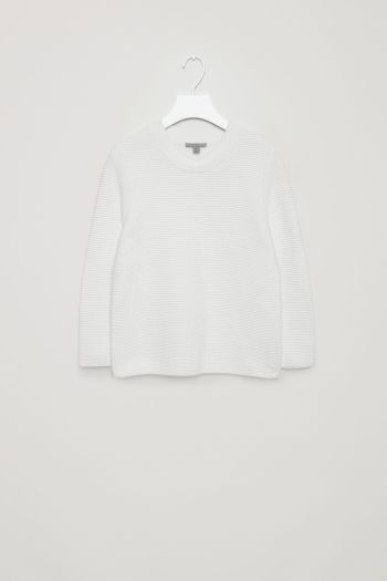 COS image 2 of Textured knit jumper in White