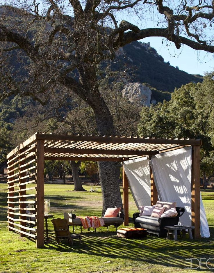 Simple, versatile pergola. Keep it open, partially covered, or totally enclosed. Grow plants on or drape curtains from it.