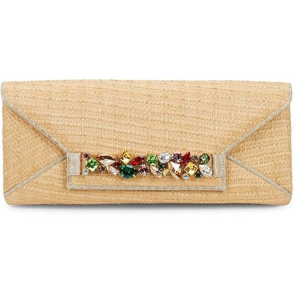 Oscar de la Renta Crystal Envelope Clutch (960 BAM) ❤ liked on Polyvore featuring bags, handbags, clutches, envelope purse clutch, oscar de la renta handbags, beige envelope clutch, handbags clutches and hand bags