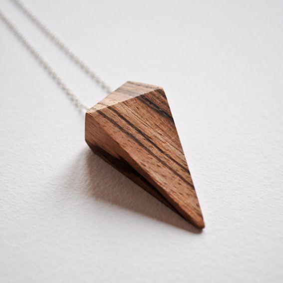 Zebrano wood pendant - handmade by Theresa Burger